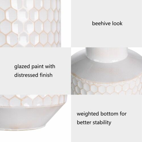 Glitzhome Farmhouse Decorative Beehive Metal Vases - White Perspective: top