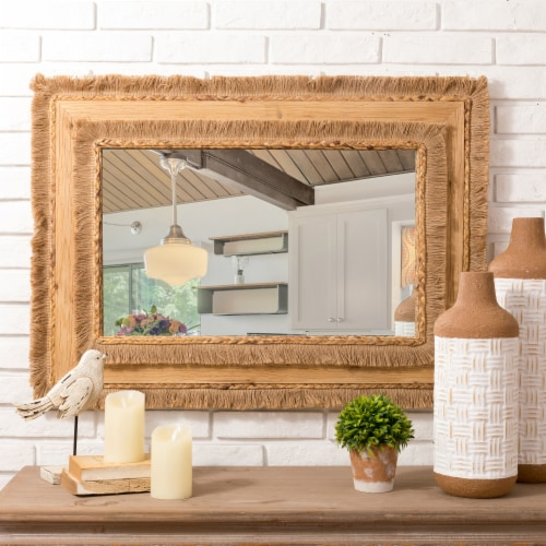 Glitzhome Oversized Bohemian Style Decorative Wall Mirror Perspective: top