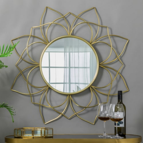 Glitzhome Oversized Modern Glam Lotus Wall Mirror - Gold Perspective: top