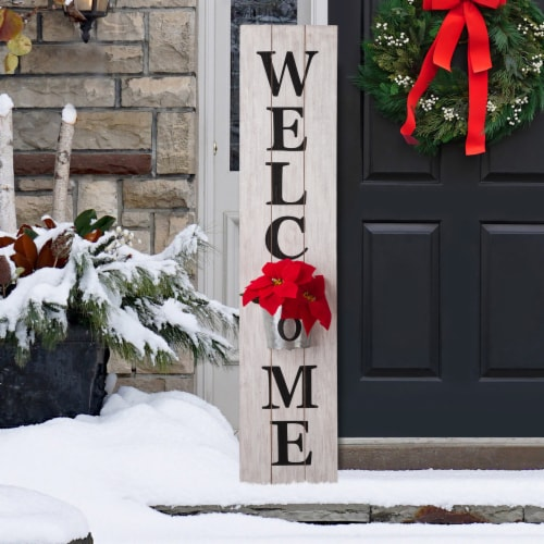 Glitzhome Wooden Welcome Porch Sign with Metal Planter - White Perspective: top