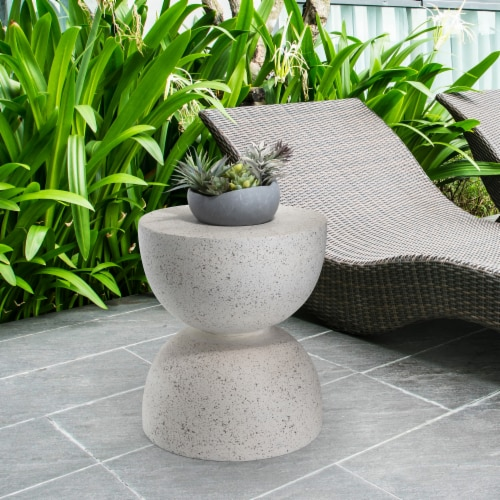 Glitzhome Multi-Functional Fauz Terrazoo Garden Stool and Plant Stand Perspective: top