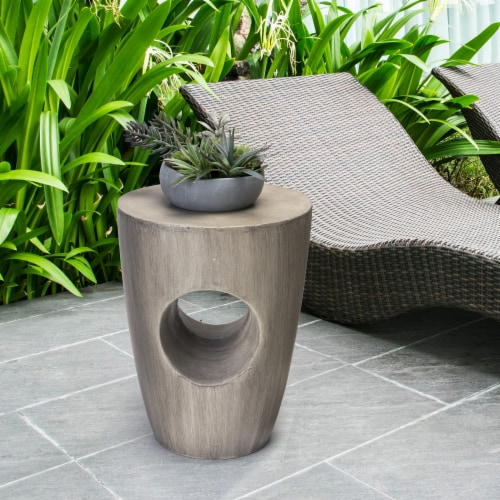 Glitzhome Multi-Functional Faux Concrete Garden Stool and Plant Stand Perspective: top