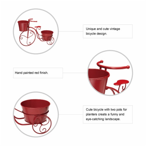 Glitzhome Metal Bicycle with Pots Plant Stand - Red Perspective: top