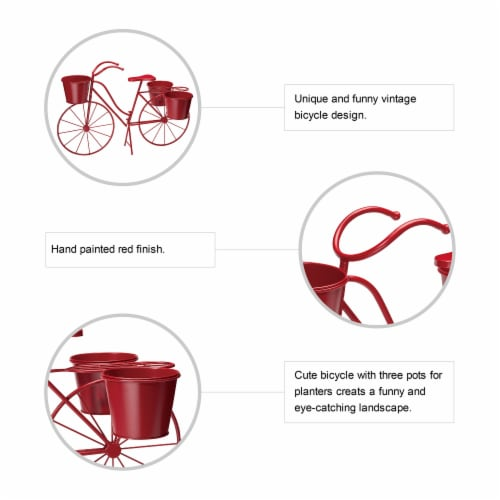 Glitzhome Oversized Metal Bicycle with Pots Plant Stand - Red Perspective: top