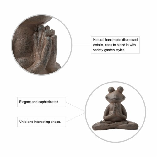 Glitzhome Frog with Yoga Pose Decorative Statue Perspective: top