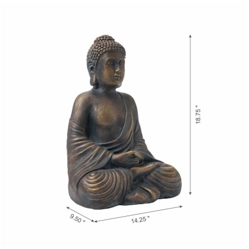 Glitzhome Meditating Buddha Garden Statue Perspective: top