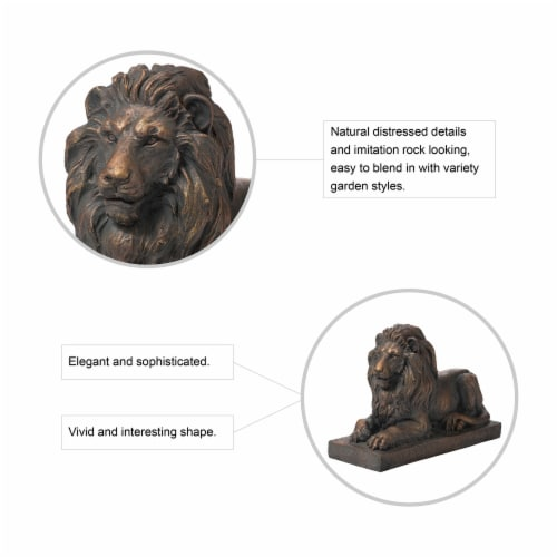 Glitzhome Lying Guardian Lion Garden Statue Perspective: top