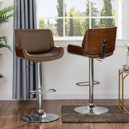 Glitzhome Adjustable Height Swivel Bar Stool Pair - Brown Perspective: top