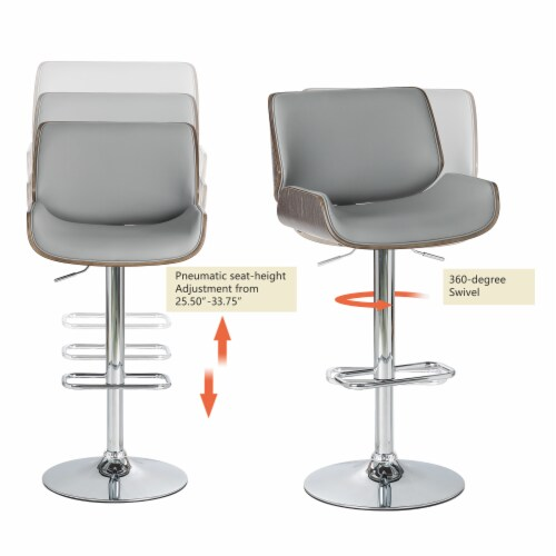 Glitzhome Mid-Century Modern Adjustable Height Swivel Bar Stool - Gray Perspective: top