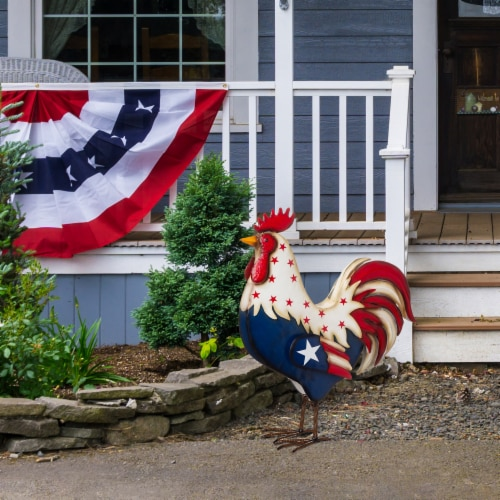 Glitzhome Patriotic Stars Metal Rooster Porch Decor Perspective: top