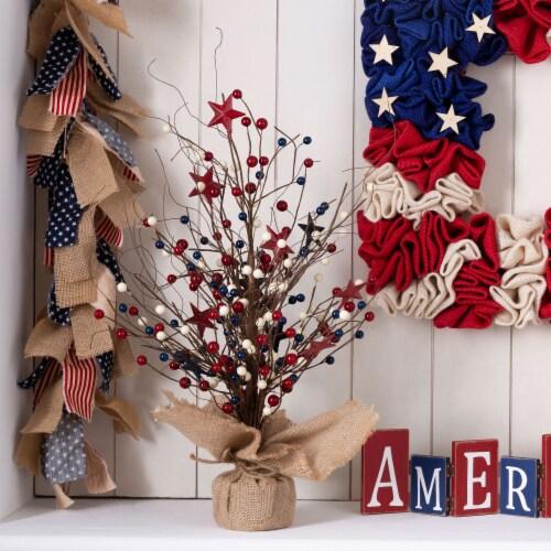 Glitzhome Patriotic Americana Table Tree Decor Perspective: top