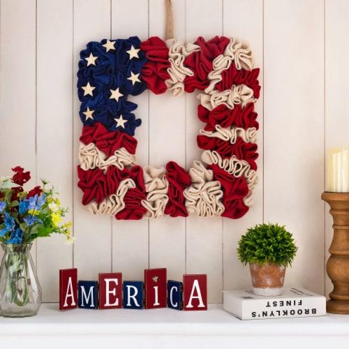 Glitzhome Americana Square Fabric Wreath Perspective: top