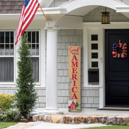 Glitzhome Patriotic Wooden Porch Sign Standing/Hanging Decor Perspective: top