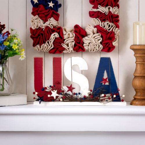 Glitzhome Patriotic Wooden USA Table Decor Perspective: top