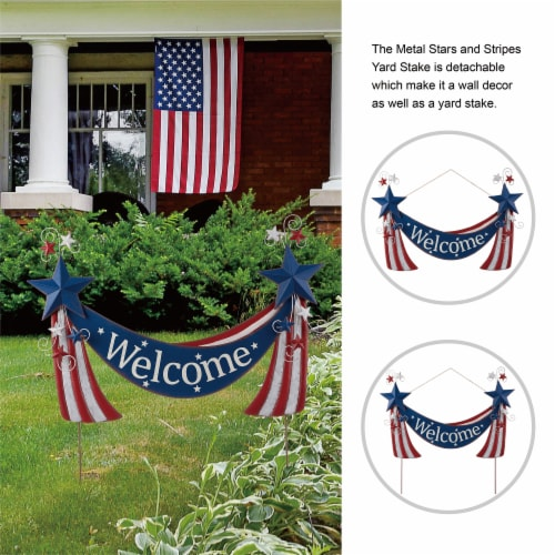 Glitzhome Patriotic Welcome Metal Yard Stake/Wall Sign Perspective: top