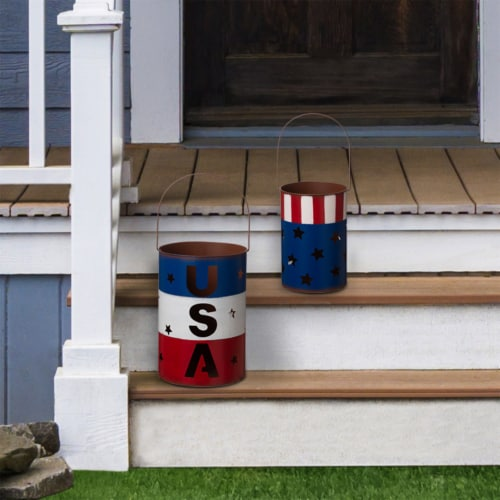 Glitzhome Patriotic USA Metal Cut-Out Star Lantern Set Perspective: top
