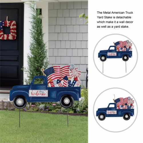 Glitzhome Americana Metal Truck Yard Stake/Wall Sign Perspective: top