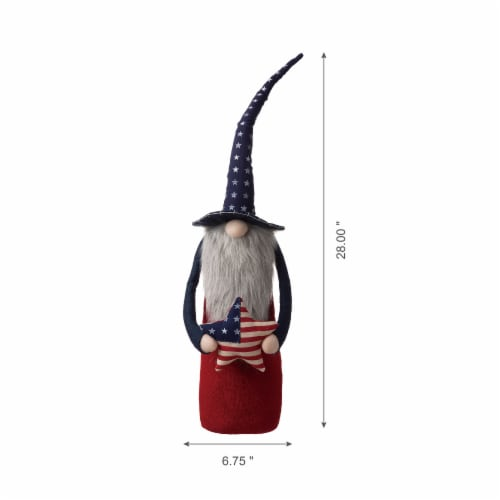 Glitzhome Patriotic Stuffed Fabric Gnome with Hat Perspective: top