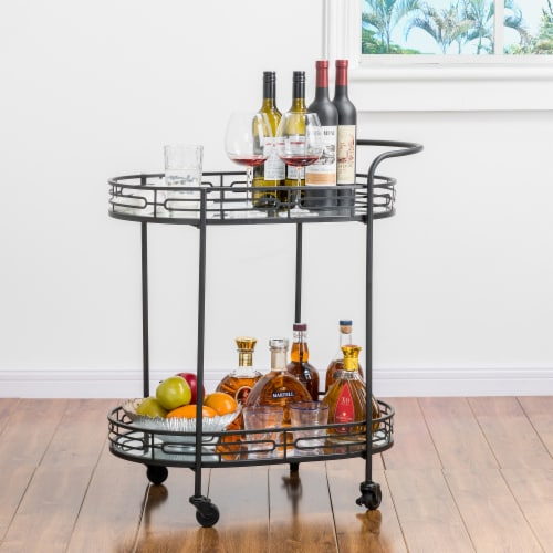 Glitzhome Deluxe 2-Tier Metal Oval Mirrored Bar Cart - Black Perspective: top