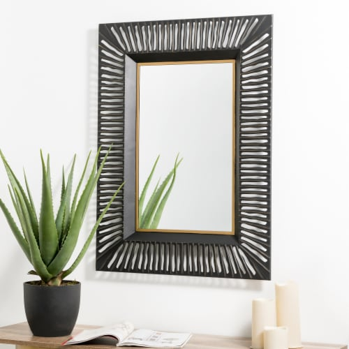 Glitzhome Oversized Modern Metal Wall Mirror - Black/Gold Perspective: top