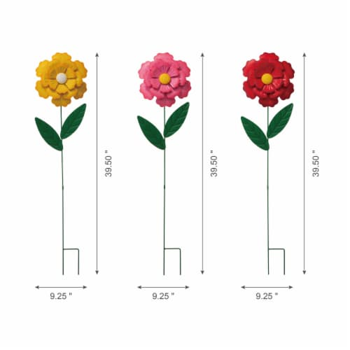 Glitzhome Metal Yard Stake Flower Perspective: top