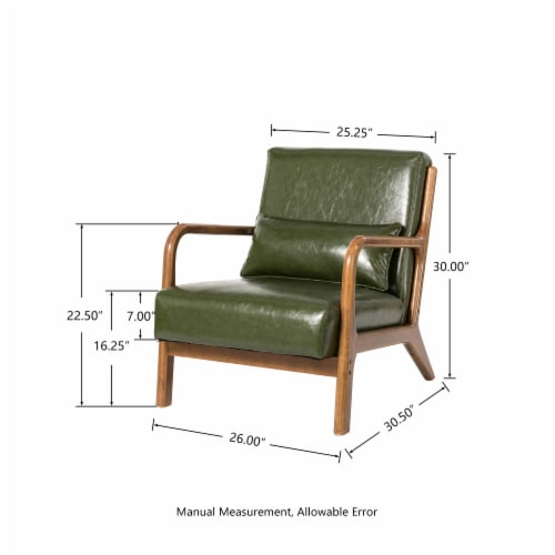 Glitzhome PU Leather Accent Armchair - Hunter Green Perspective: top