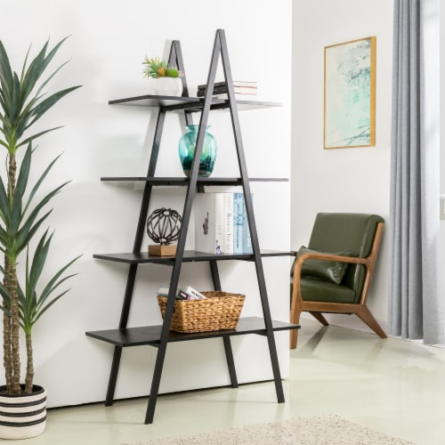 Glitzhome 4-Tiered Industrial Shelves - Black Oak Perspective: top