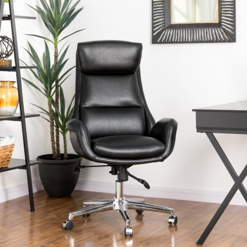 Glitzhome Midcentury Air Leatherette Adjustable Swivel High Back Office Chair - Black Perspective: top