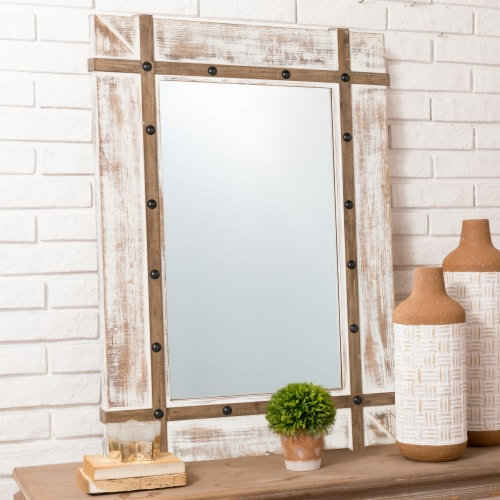 Glitzhome Oversized Farmhouse Wood Rectangular Wall Mirror Perspective: top