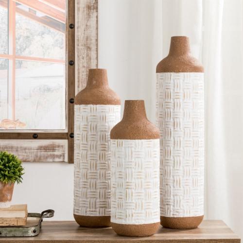 Glitzhome Boho Farmhouse Decorative Metal Floor Vases Perspective: top