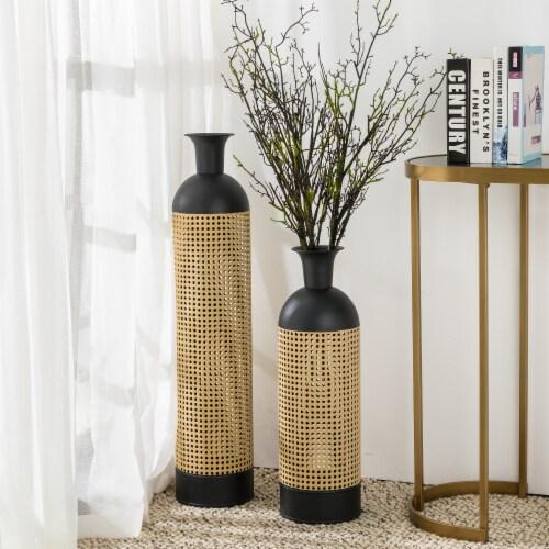 Glitzhome Boho Decorative Metal Floor Vases - Gold/Black Perspective: top