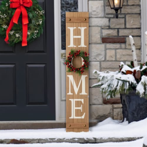 Glitzhome Wooden Holiday Wall Sign Perspective: top