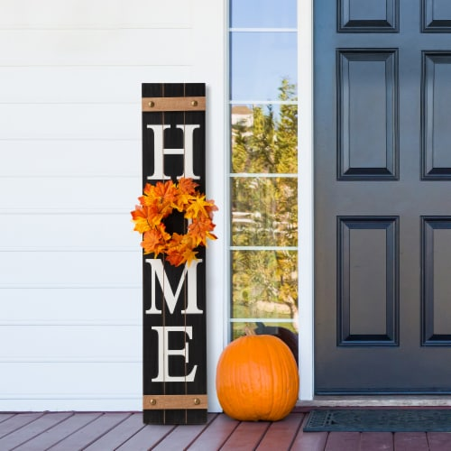 Glitzhome Wooden Home Porch Sign with Changeable Wreaths Perspective: top