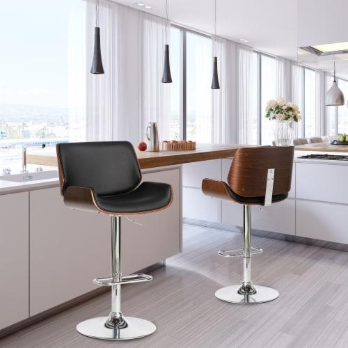 Glitzhome Modern PU and Walnut Bentwood Adjustable Swivel Bar Stool - Black Perspective: top
