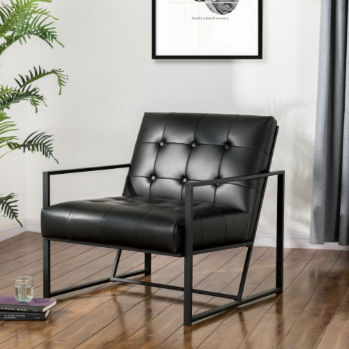 Glitzhome Mid-Century Modern PU Leather Tufted Accent Chair - Black Perspective: top