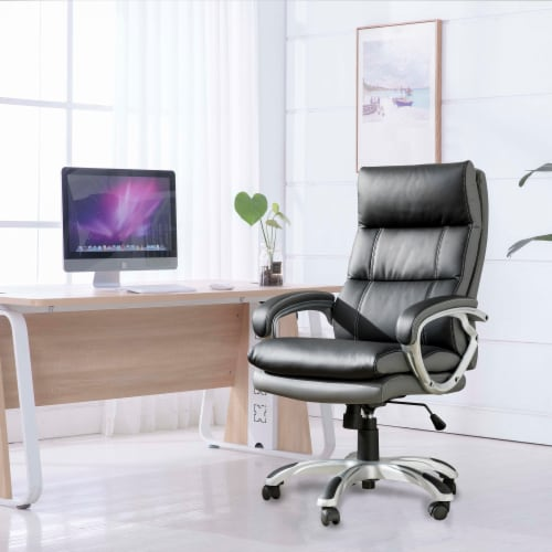 Glitzhome PU Leather Adjustable Swivel Office Chair - Black Perspective: top