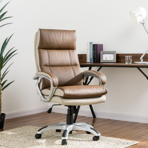Glitzhome PU Leather Adjustable Swivel Office Chair - Brown Perspective: top