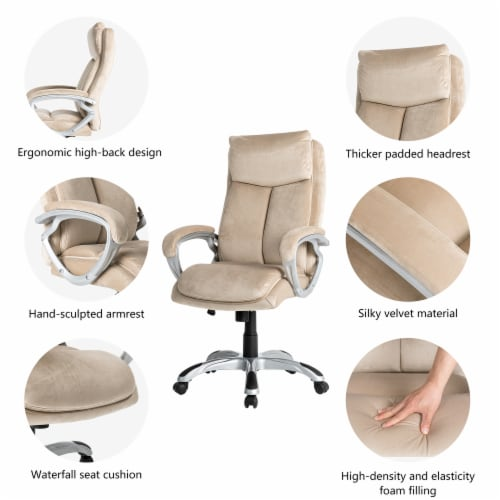 Glitzhome Velvet Adjustable Swivel Office Chair - Cream Perspective: top