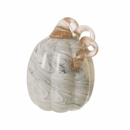 Glitzhome Gray Marble Glass Pumpkin Perspective: top