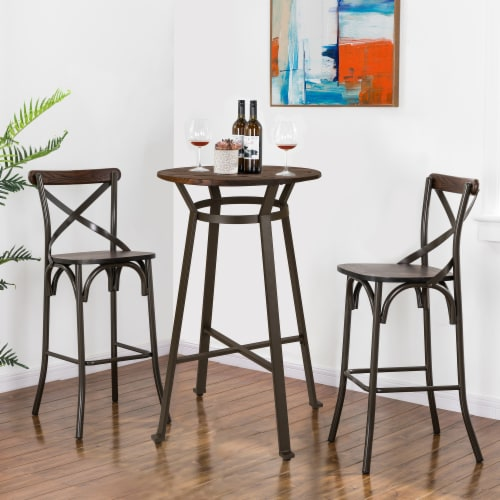 Glitzhome Rustic Steel Round Bar Table and Stools Set Perspective: top
