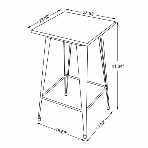 Glitzhome Rustic Steel Square Bar Table & Stools Set Perspective: top