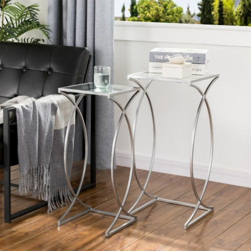 Glitzhome Metal with Glass Accent Table - Silver Perspective: top