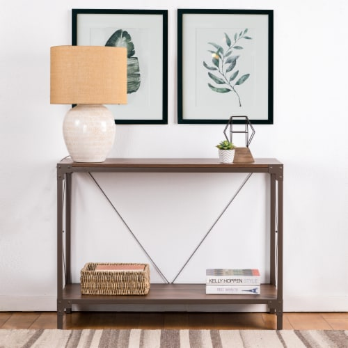 Glitzhome Modern Industry Metal/Wooden Console Table - Walnut Perspective: top