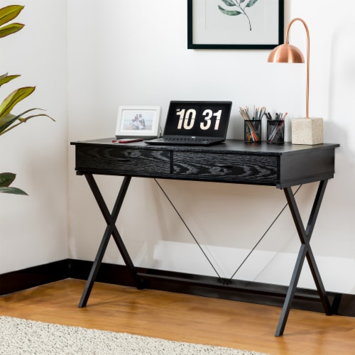 Glitzhome Modern Industry Metal/Wooden Writing Desk - Black Perspective: top