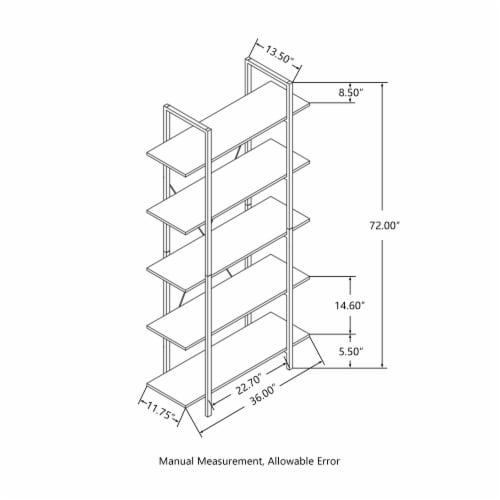Glitzhome Modern Industry Metal/Wooden 5-Tier Bookcase & Shelves - Black/Walnut Perspective: top