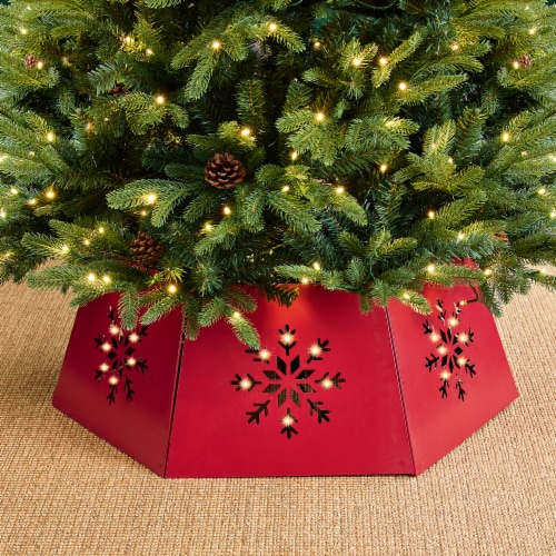 Glitzhome Hexagonal Metal Cutout Snowflake Tree Collar with Light String - Red Perspective: top