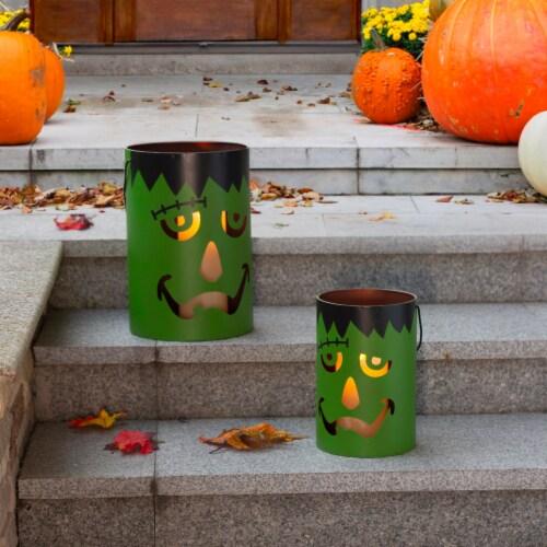 Glitzhome Green / Black Metal Frankenstein Lantern Decor Perspective: top