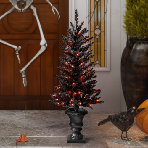 Glitzhome Black Lighted Porch Tree with Orange LED Lights Perspective: top