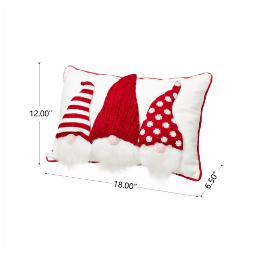 Glitzhome 3D Heavy Cotton Knitted Gnome Pillow Perspective: top