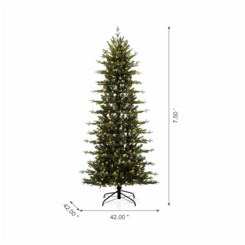 Glitzhome Pre-Lit Artificial Christmas Tree with LED Light Bulbs Perspective: top